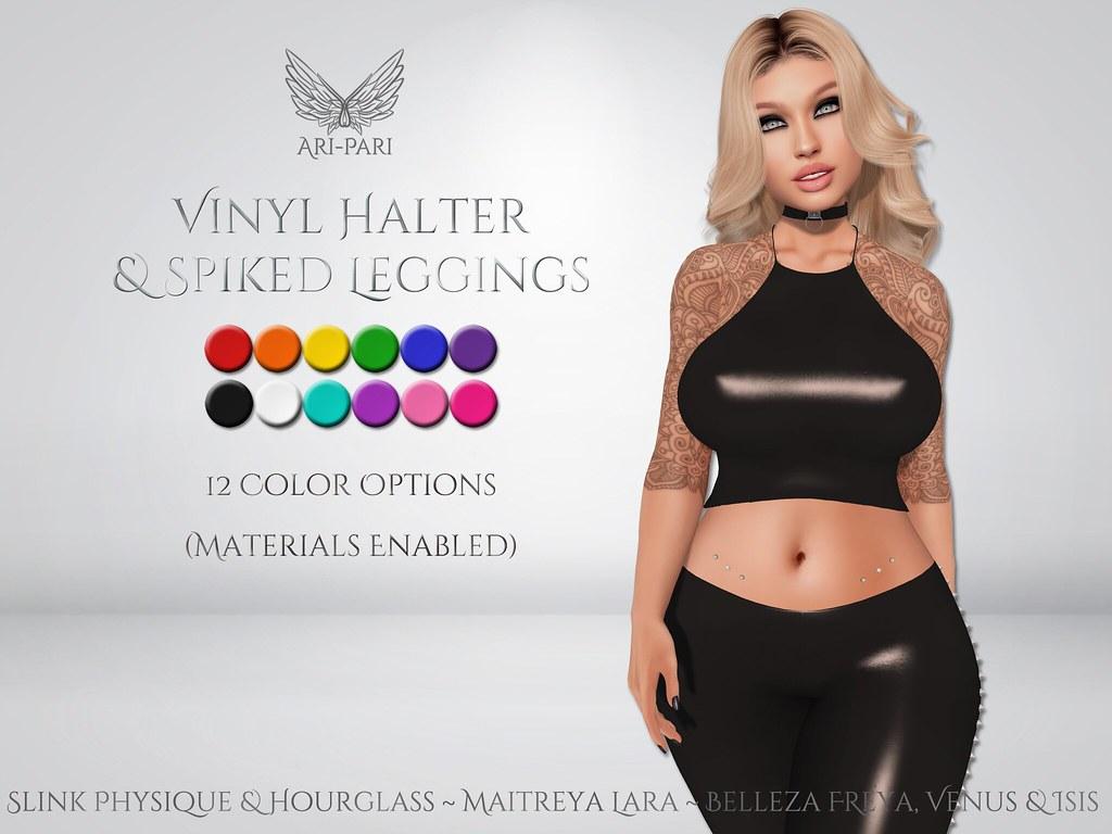 [Ari-Pari] Vinyl Halter & Spiked Leggings