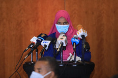 H.E Aisha Mohammed, the Minster of Ministry of Urban Development, giving speech at Signing ceremony between Ministry of Labour and Social Affairs, Ministry of Urban Development, and UNICEF on top-up cash transfers for urban productive safety net beneficia