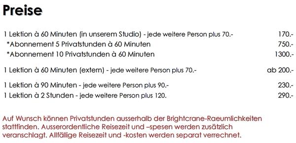 Bright Crane Tai Chi Zurich - Privatstunden / Private Lesson / Personal Training: www.brightcrane.ch - Preise