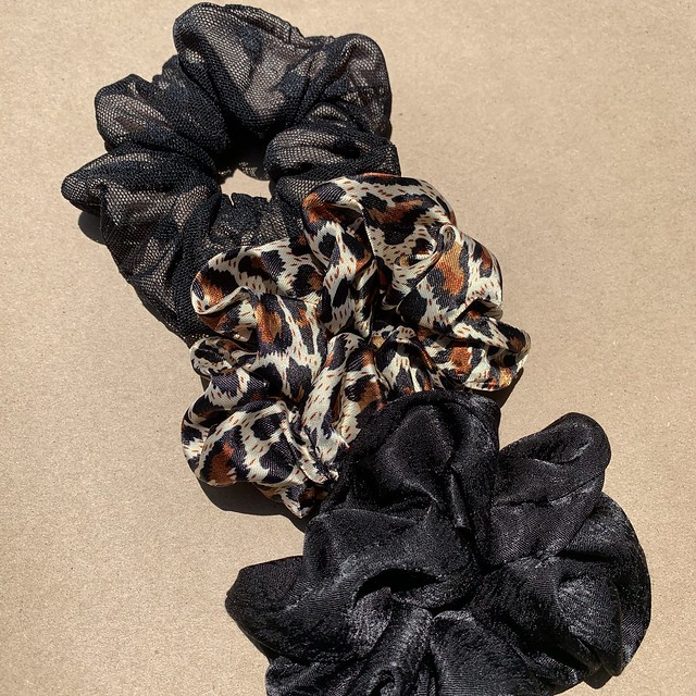 Nude/Black, Cheetah, Silky Black Scrunchies - Mix & Match - LuxeDessinsCo - Sold On Etsy