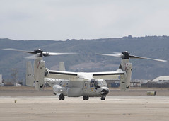 The first CMV-22B Osprey assigned to Fleet Logistics Multi-Mission Squadron (VRM) 30 lands at Naval Air Station North Island, June 22. (U.S. Navy/MC2 Chelsea D. Meiller)