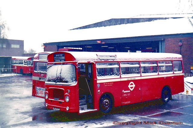 Old Edgware garage in the snow sees 1976 Bristol LH BL4 KJD404P displays route BW1 which it was given this special livery to work but never did.