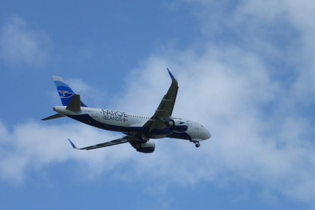 Atlantic AIrway Airbus A320 departing Vagar Airport, Faroe Islands