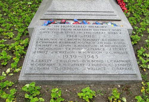 War Memorial, Whitburn, Marsden District Dedicationn