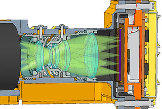 Cross-sectional view of part of the OrganiCam instrument.