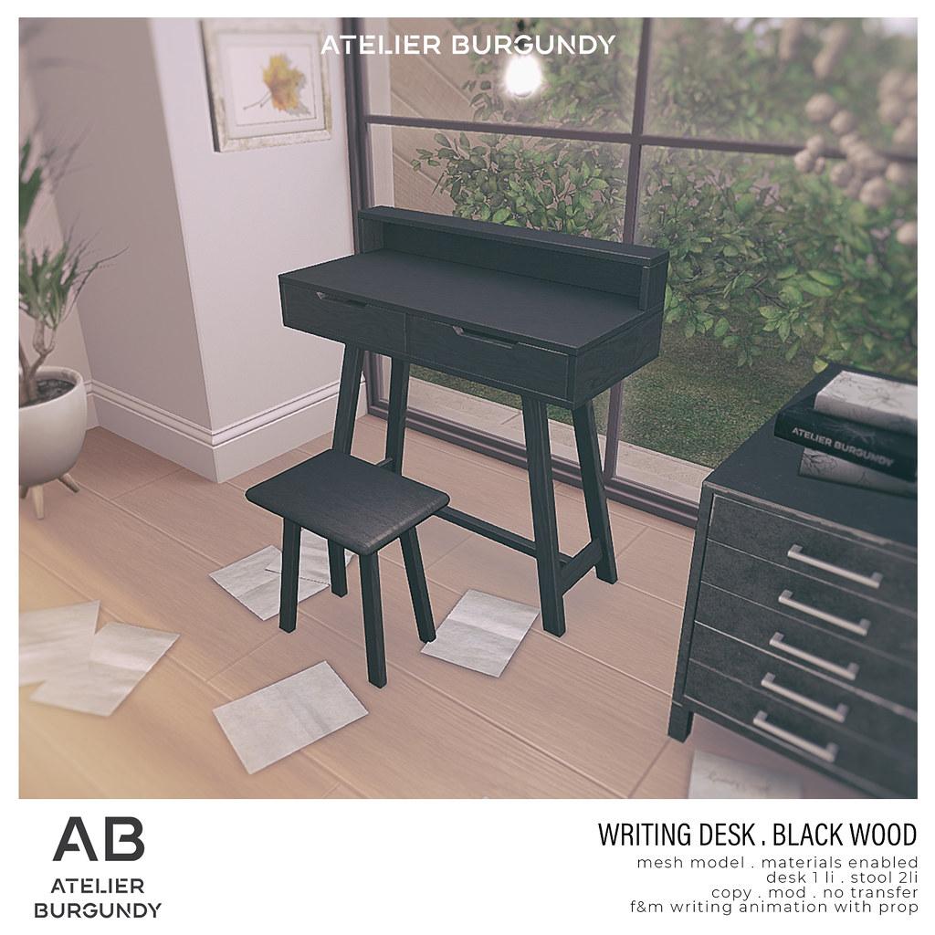 Atelier Burgundy . Writing Desk Black Wood