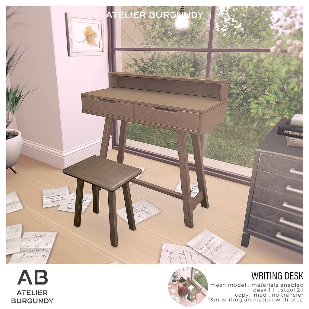 Atelier Burgundy . Writing Desk 1500