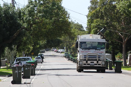 Brimbank rubbish truck at work on the streets of Sunshine