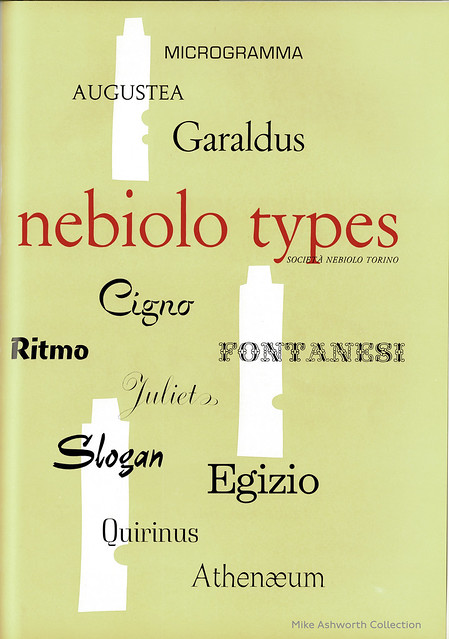 Nebiolo Types - advert issued by the Società Nebiolo Turin, 1958