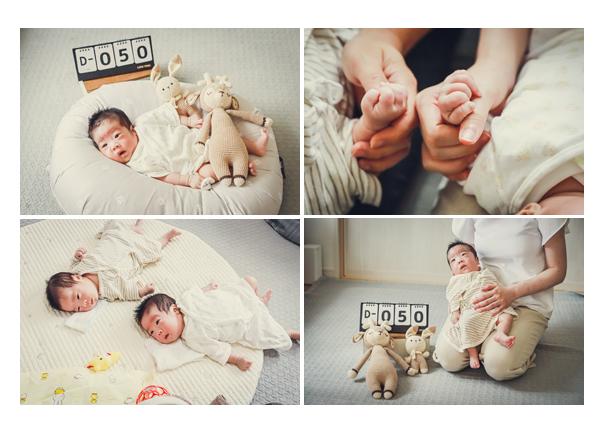 双子の赤ちゃん 生後50日(1か月) ご自宅で記念写真