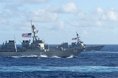 USS Russell (DDG 59) and USS Ralph Johnson (DDG 114) steam in formation during dual carrier operations with the Nimitz and Theodore Roosevelt Carrier Strike Groups, June 23.  (U.S. Navy/MCSN Drace Wilson)