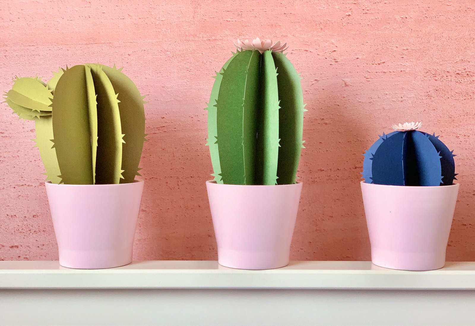 Close up of three paper cactuses. One pale green, one dark green, one dark blue, against a pink wall.