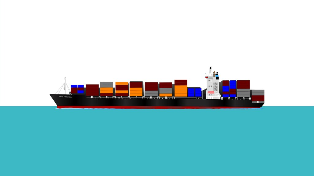A graphic of a container ship