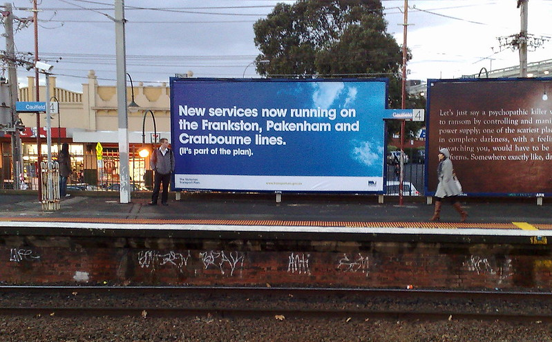 Government advertising at Caulfield station (June 2010)
