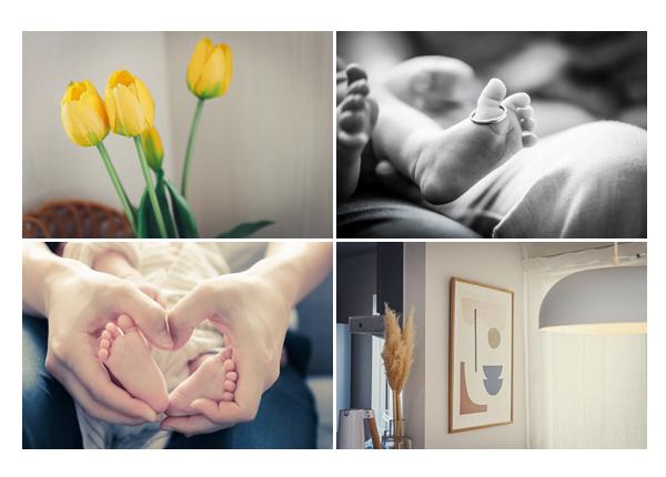 お宮参りの日 ご自宅で家族写真 指輪の赤ちゃんの足にはめて♡