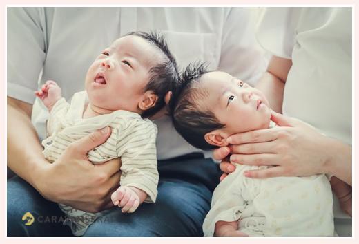 双子の赤ちゃん ご自宅へ出張撮影