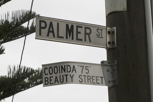 'Cooinda 75 Beauty Street' sign on Palmer Street in Sunshine