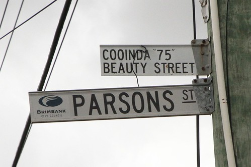 'Cooinda 75 Beauty Street' sign on Parsons Street in Sunshine