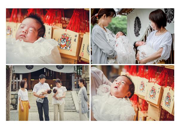 双子の赤ちゃんの初宮参り 八事塩竈神社(名古屋市) 衣装はベビードレス