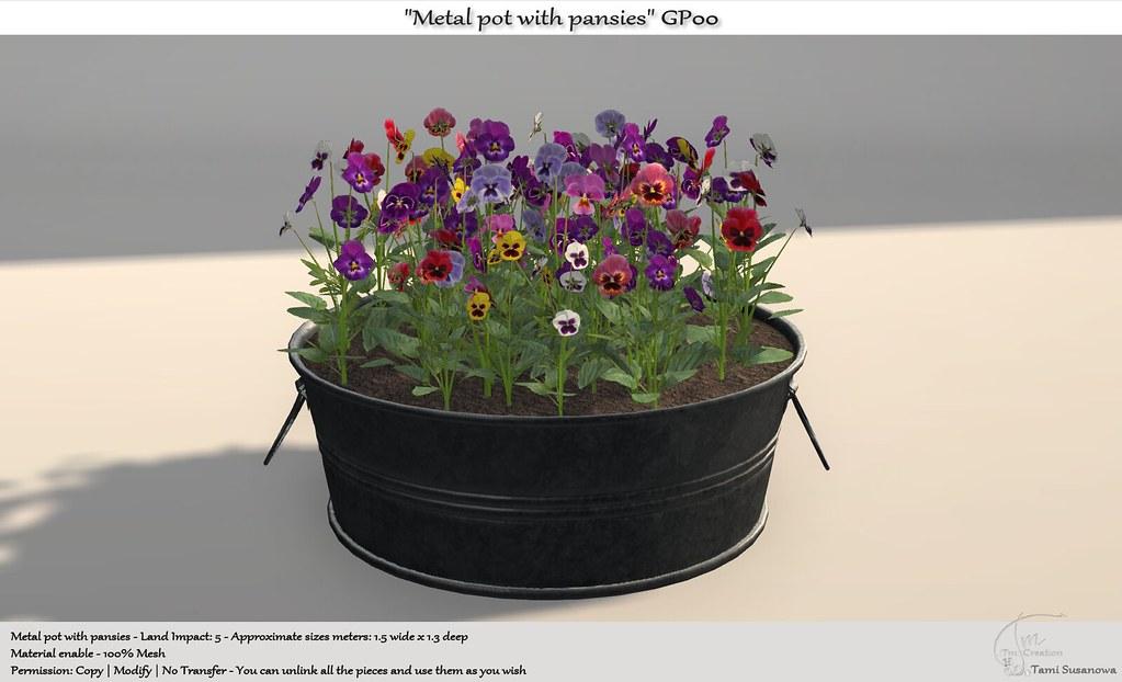 ".:Tm:.Creation ""Metal pot with pansies"" GP00"