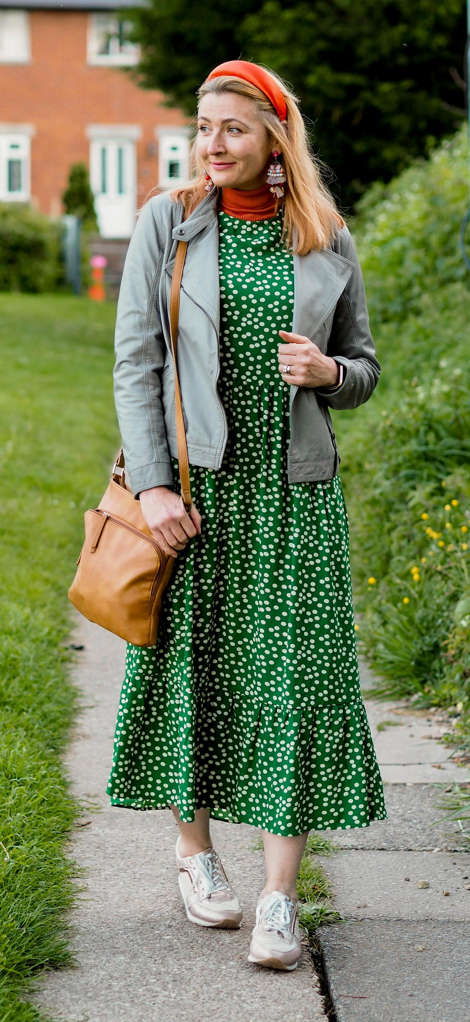 A Maxi Dress With Trainers. A Cliché? Not Sure I Care... (green spotted maxi dress with rose gold trainers) | Not Dressed As Lamb, over 40 style blog