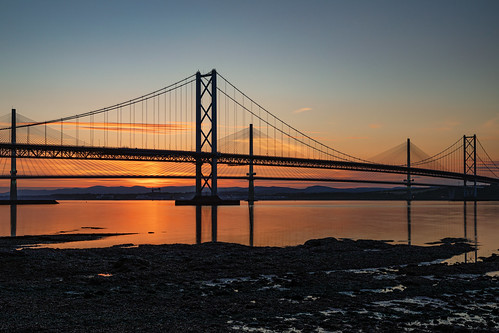 forthroadbridge queensferrycrossing firthofforth bridges sunsetlongexposure