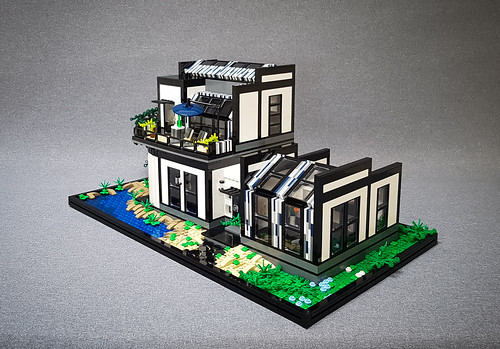 Wagtail House MOC. Front with sloping kitchen roof.