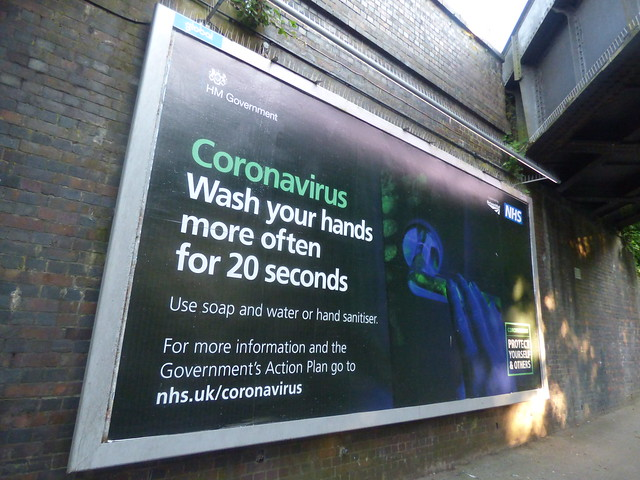 Wash your hands billboard on Richmond Road, Olton