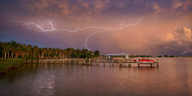 Lightning storm over the Indian River Lagoon.