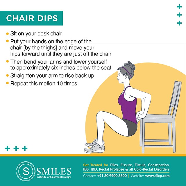Chair dips to build triceps