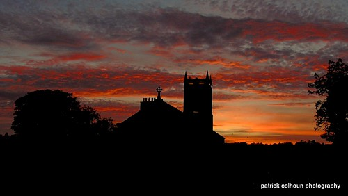 sunset night fierysunset inishowen silhouette religious ireland stmaryschurch buncrana donegal
