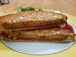 Toasted Tofurky Ham and Miyokos Smoked Farmhouse sandwich
