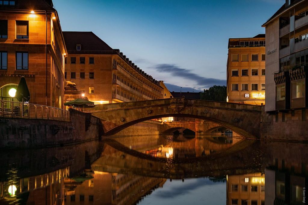 Blick auf die Fleischbrücke [Museumsbrücke im Hintergrund - Nürnberg]
