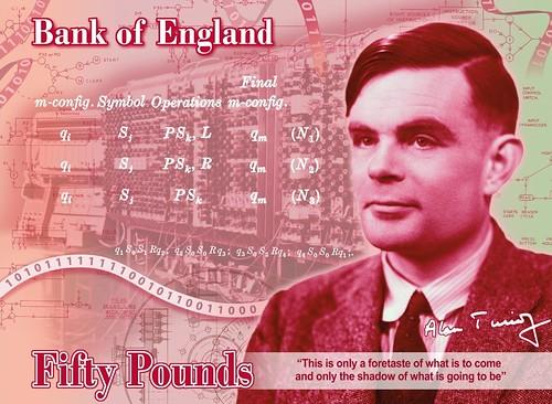 Billete de 50 libras con Alan Turing