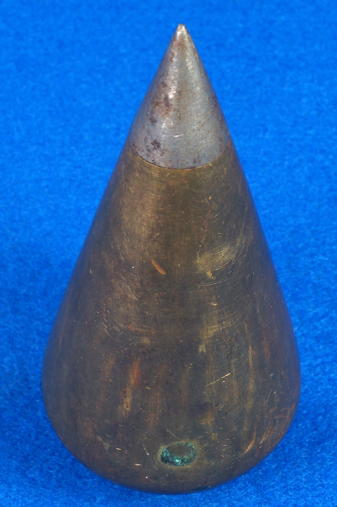 RD27707 Early Unmarked Vintage Turnip Brass Plumb Bob with Steel Point 12 oz. DSC08395
