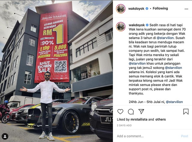 Wak Doyok Terpaksa Akur Butik Ditutup, Lelong Baju Serendah RM1