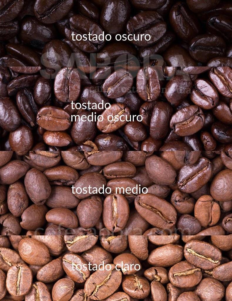 Gados de tostado en los granos de café