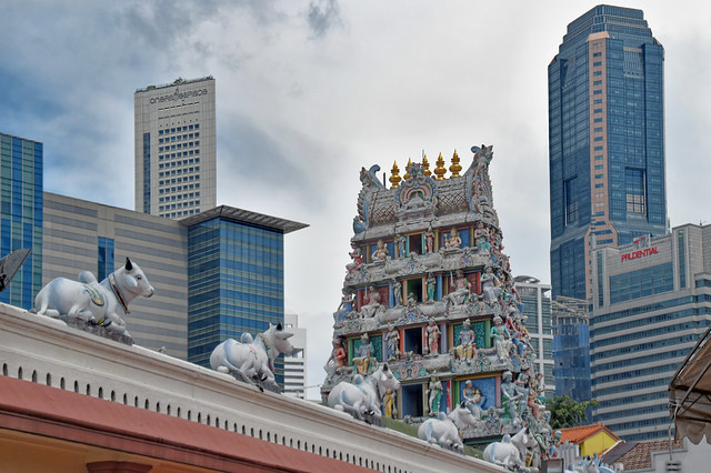 Temple amongst Sky Scrapper,  Little India, Singapore