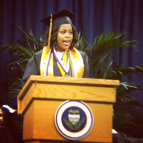 RyKai speaking at graduation. From RyKai Wright: #CommunityCollegeBecause ... it will help enhance your academic goals, leadership, and networking skills