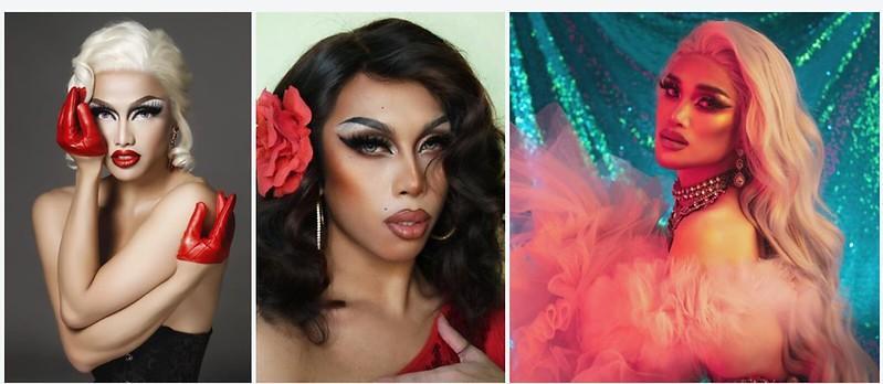 Drag queens Brigiding Gigi, Minty Fresh and Marina Summers