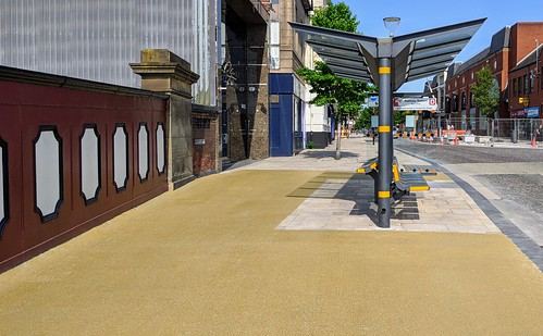 The new 'mustard yellow' pavement in Preston | by Tony Worrall