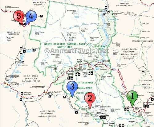 Hiking locations map for a 5 day itinerary of North Cascades National Park, Washington