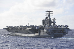In this file photo, USS Nimitz (CVN 68) transits the Philippine Sea during dual carrier operation with the Theodore Roosevelt Carrier Strike Group, June 23. (U.S. Navy/MC3 Anthony Collier)