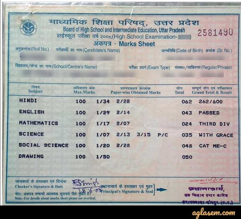 UP Board 10th marksheet