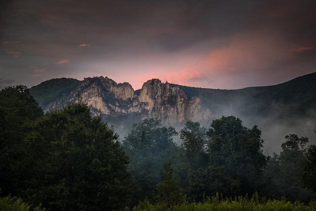 Sunset and Mist on Seneca Rocks - Explored