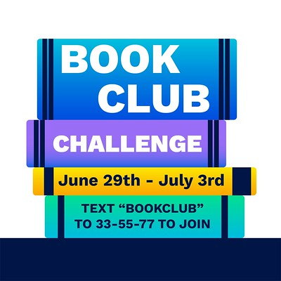 Visual image that says - Book Club Challenge June 29th to July 3rd