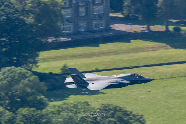 RAF F-35B Lightning II ZM149/015 from 207 Sqn low level over Windermere in the English Lake District