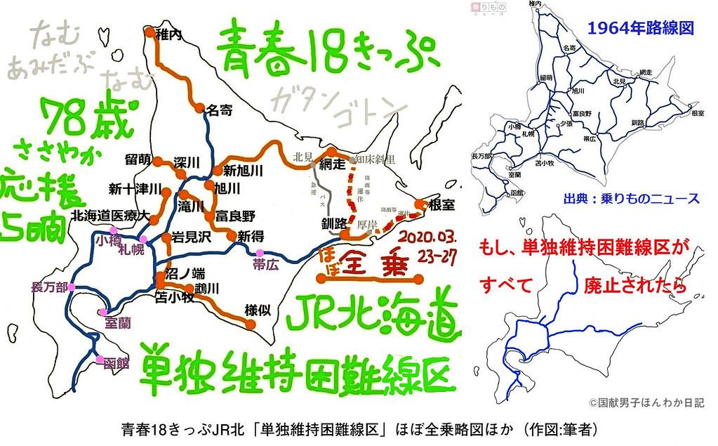 JR北海道単独維持困難線区の図