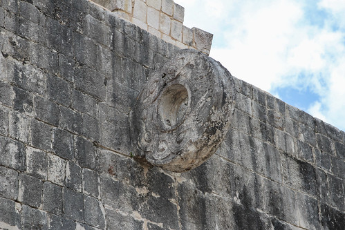 The heavy stone ring with serpent ornamentation, Ball Courts, Chichen Itza, Mexico's Yucatán Peninsula