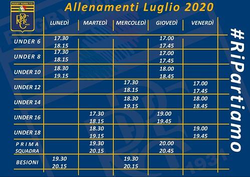 Planning allenamenti luglio 2020